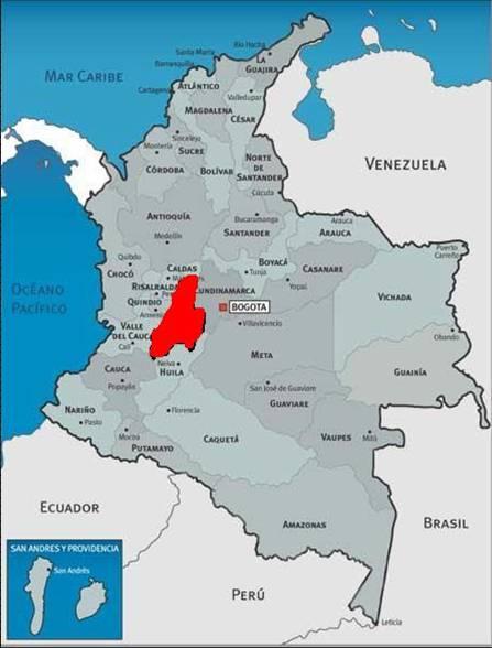 Mapa De Tolima Colombia